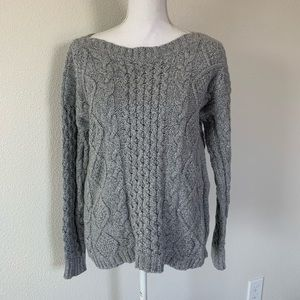 Madewell Cable Knit Sweater Size M Gray Boatneck